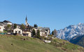Village of guarda in engadin old and traditional the swiss alps Stock Images