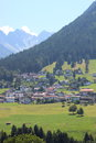 Village on hill side in the fantastic alps Stock Photography