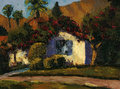 Village house scene with old ruin this is oil painting and i am author of this image Royalty Free Stock Photography