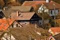 Village houses with red roofs hluboke u kusntatu czech republic Stock Photo