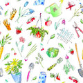 Village image with garden plants and tools seamless pattern.