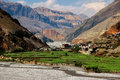 The village Kagbeni in the Himalayan mountains. Kali Gandaki River gorge. Nepal Royalty Free Stock Photo