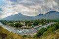 Village in Kullu Valley, Beas river foreground Royalty Free Stock Photo