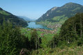 Village and lake of Lungern Royalty Free Stock Images