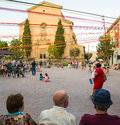 Village main square holiday people celebrations corpus christi at the of the of la garriga in eastern spain catalonia Royalty Free Stock Photo