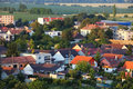 Village with many house aerial view Royalty Free Stock Photo