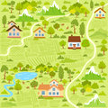 Village map illustration background of a with houses Stock Photography