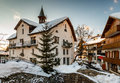 Village of megeve in the evening french alps france Royalty Free Stock Photography