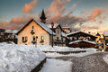 Village of megeve in the evening french alps france Stock Photography