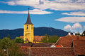 Village of Miholec church tower and Kalnik Royalty Free Stock Photo
