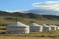 Village Mongolie de Yurt Image stock