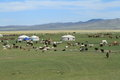 Village Mongolie de Yurt Photographie stock libre de droits