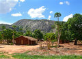 The village is in the mountains fabulously beautiful landscape africa mozambique Stock Photo