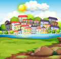 A village near the river illustration of Royalty Free Stock Image