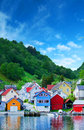 village in Norwegian fjord Royalty Free Stock Photo