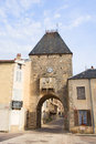 Village noyers entrance in french burgundy with port for Royalty Free Stock Images
