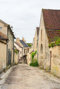 Village noyers little lane in french burgundy with in the center Stock Images