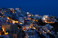 The village of Oia at dusk Stock Image