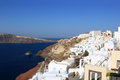 Village of Oia at Santorini island in the Cyclades Royalty Free Stock Photo