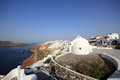 Village of Oia at Santorini island in the Cyclades Stock Photos