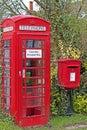Village Phonebox & Postbox Royalty Free Stock Photo