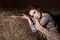 Village provincial woman In the hay Royalty Free Stock Photo