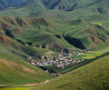 Village in the qilian mountains Stock Photos