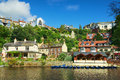 Village on river bank in Knaresborough, UK Stock Image