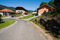 Village road and houses in onnion france haute savoie region Royalty Free Stock Photos