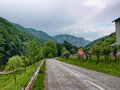 Village road view of a old mountain romania Royalty Free Stock Photos