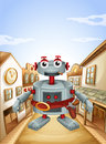 A village with a robot illustration of Royalty Free Stock Photo