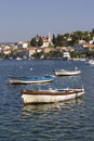 Village rogoznica in croatia on dalmatian coast wooden fishing boats port of adriatic Stock Photo