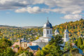A village's church in a sunny day. Horizontal view of the villag Royalty Free Stock Photo