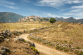Village of sant antonino in balagne region of corsica a winding dirt track leads to the picturesque the Stock Photography