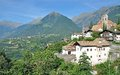 Village of schenna south tyrol italy near merano with dorf tirol in background trentino alto adige Stock Photography