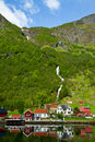Village and Sea view on mountains in  fjord, Royalty Free Stock Photo