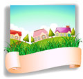 A village with a signage illustration of on white background Royalty Free Stock Photo