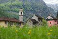 The village of Sonogno in the valley of the Verzasca river, Swit Royalty Free Stock Photo