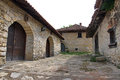 Village street with retro traditional wine cellars rajac a houses in the were built by peasants from the of rajac Royalty Free Stock Photo