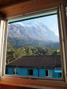 Village view from window at Jungefrau Switzerland Royalty Free Stock Photos