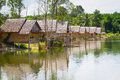 Village at the water in Thailand Royalty Free Stock Photo