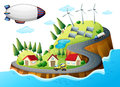 A village with windmills and a spaceship illustration of Stock Image