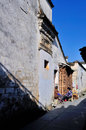 Villager bask in the sun xidi village is a village southern anhui province yixian county xidi village included world heritage list Royalty Free Stock Images
