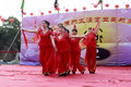 Villagers dancing to celebrate the completion of taiqing palace taoist ritual built in amoy city china local funded construction Royalty Free Stock Photography