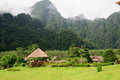 Villages with the mountain scene behind in the northern part of thailand Royalty Free Stock Images