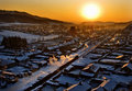 Villages under the sunset Royalty Free Stock Image