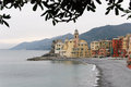 Villaggio di camogli beach and houses in village Royalty Free Stock Image