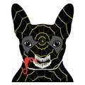 Villain symbol in costume with a spider web, with teeth and sticking out tongue, in black, yellow, red, and gray as bulldog