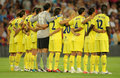 Villarreal team in silence minute Royalty Free Stock Photography