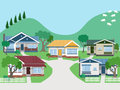 Villas and bungalow houses in suburban street eps grouped layered Royalty Free Stock Photo